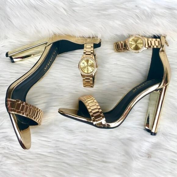 7bcb474fd19 Women's Gold Watch Heels NWT